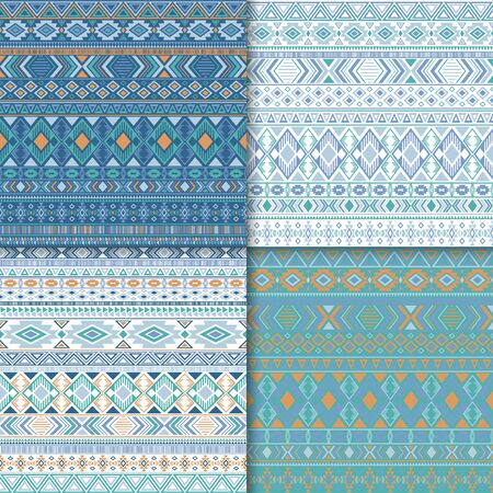Navajo tribal ethnic motifs geometric patterns set. Bohemian tribal motifs clothing fabric textile ethno prints traditional design. Native american folk fashion prints.