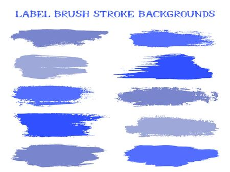 Graphic label brush stroke backgrounds, paint or ink smudges vector for tags and stamps design. Painted label backgrounds patch. Interior colors scheme elements. Ink dabs, ocean blue splashes.