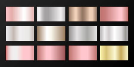 Metallic gradients vector set: silver, platinum, bronze, rose gold. Graphic elements of gold, bronze and silver gradients for award medals or coins design.