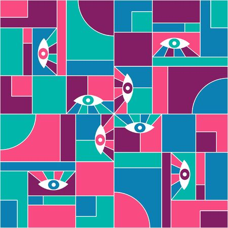 Modernism bauhaus geometric seamless pattern with eyes. Minimal vector avant garde fashion pattern fabric print. White grid, geometric shapes, open eyes bauhaus style seamless textile background.