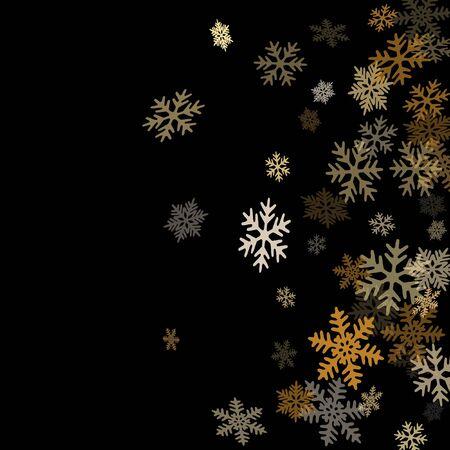 Winter snowflakes border simple vector background.  Macro snowflakes flying border illustration, holiday banner with flakes confetti scatter frame, snow elements. Cold season winter symbols.  イラスト・ベクター素材