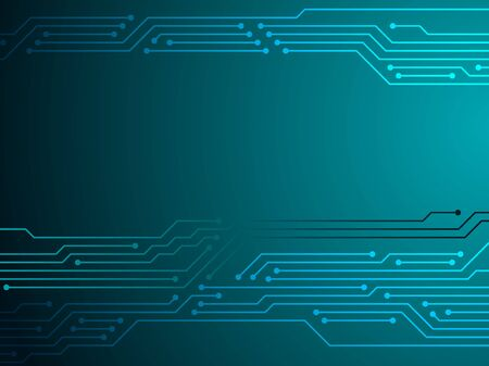 Circuit board or motherboard texture vector background graphic design. Processor microchips connections in turquoise. Semiconductor connections of computer hardware, microcircuit, motherboard elements