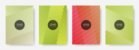 Zig zag lines halftone banner templates set, vector backgrounds for   booklet covers. Vivid zig zag gradient line stripes pattern. Poster backdrops collection. Çizim