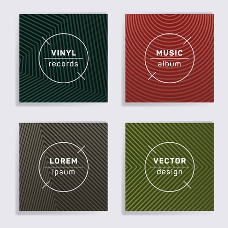 Modern plate music album covers collection. Halftone lines backgrounds. Minimal plate music records covers, vinyl album mockups. DJ records geometric layouts. Techno party posters.