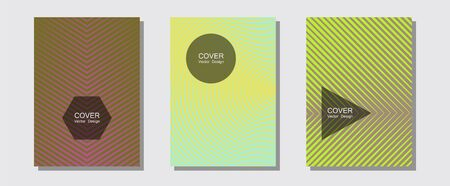 Halftone gradient texture vector cover layouts. Business folders branding. Halftone lines music poster background. Futuristic style. Multiple lines cool gradient texture backgrounds. Illustration