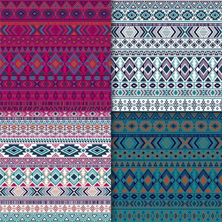 African tribal ethnic motifs geometric patterns collection. Geometric tribal motifs clothing fabric textile ethno prints traditional design. Native american folk fashion prints. Ilustração