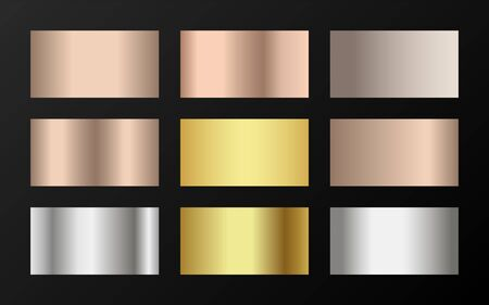 Gold, silver and bronze gradients vector mega set. Metallic gold, silver, steel, chrome, copper, bronze foil texture gradient swatch templates. Shiny metallic gradients collection for backgrounds.