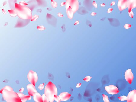 Spring blossom isolated petals flying on blue sky background. Japanese cherry flower parts falling vector pattern. Pastel rose color apple flower petals design. Blured texture elements. Ilustracja