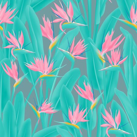 Strelitzia reginae tropical flower vector seamless pattern. Jungle exotic tropical plant fabric design. South African plant tropical blossom of crane flower, strelitzia. Floral wallpaper. Illustration