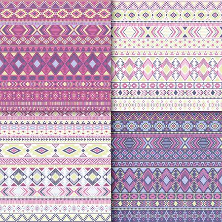 Mexican tribal ethnic motifs geometric patterns set. Unusual tribal motifs clothing fabric textile ethno prints traditional design. South american folk fashion prints.
