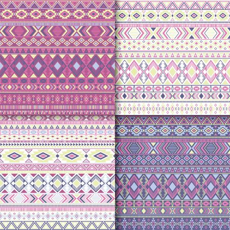 Mexican tribal ethnic motifs geometric patterns set. Unusual tribal motifs clothing fabric textile ethno prints traditional design. South american folk fashion prints.