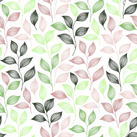 Packaging tea leaves pattern seamless vector. Minimal tea plant bush leaves floral textile ornament. Herbal sketchy seamless background pattern with nature elements. Herbs summer foliage wallpaper.