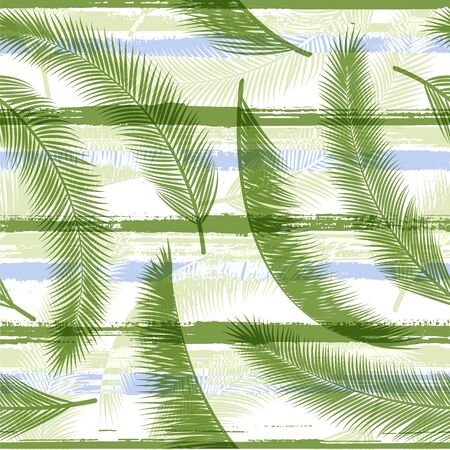 Trendy coconut palm leaves tree branches overlapping stripes vector seamless pattern. Polynesian forest foliage swimwear textile print. Tropical leaves silhouettes wallpaper.