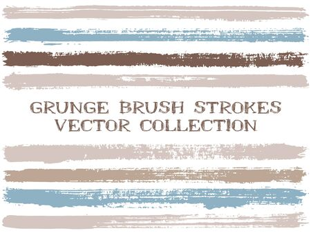 Long ink brush strokes isolated design elements. Set of paint lines. Grungy stripes, textured paintbrush stroke shapes. Ink brush stripes isolated on white, vector wall paint samples set. Ilustracja