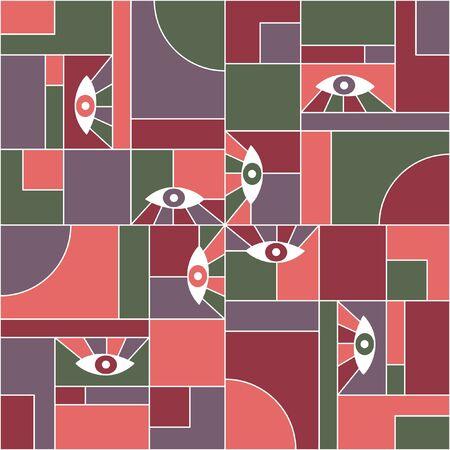 Cooles Bauhaus geometrisches nahtloses Muster mit Augen. Abstrakter Vektor-Kubismus-Muster-Gewebedruck. Geometrische Gitterelemente, offene Augen Bauhaus-Stil nahtlose Collage-Design.