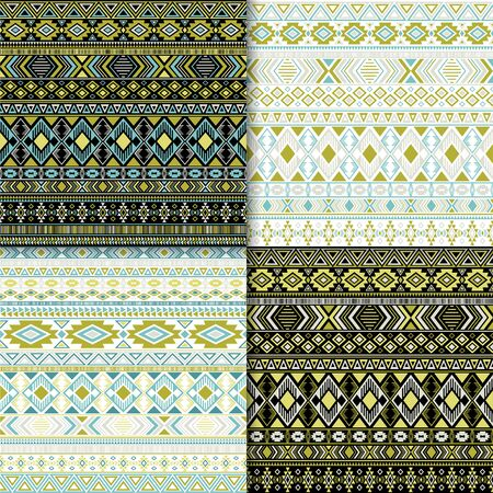Mexican tribal ethnic motifs geometric patterns collection. Abstract tribal motifs clothing fabric textile ethno prints traditional design. Native american folk fashion prints. Illustration