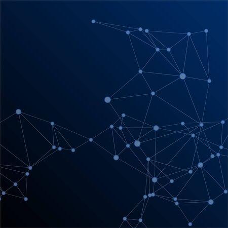 Big data cloud scientific concept. Network nodes plexus dark blue background. Circle nodes and line elements. Tech vector big data visualization cloud structure. Chemical formula abstraction.