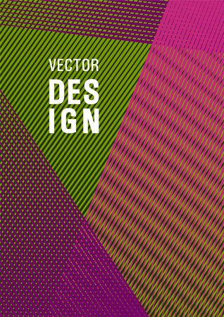 Geometric shapes with lines texture vector cover. Stylish magazine vibrant leaflet. Poster linear minimalistic Eps10 vector. Contemporary paper cover design. Modern gradient folder mockup.