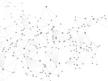Block chain global network technology concept. Network nodes greyscale plexus background. Global data exchange blockchain vector. Linked dot nodes and lines low poly. Nanotechnology backdrop.