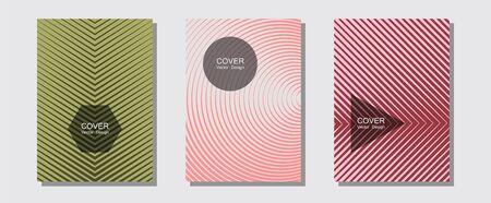 Brochure covers, posters, banners vector sjablonen. Eenvoudige boekomslagen. Halftone lijnen muziek poster achtergrond. Advertenties voor muziekalbums. Geometrisch grafisch ontwerp voor brochureomslagen.