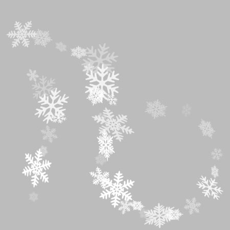 Snow flakes falling macro vector illustration, christmas snowflakes confetti falling chaotic scatter card. Winter xmas snow background. Motion flakes falling and flying winter cold weather vector.