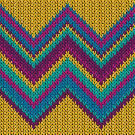Modern zig zal lines knitted texture geometric vector seamless. Jacquard knitting pattern imitation. Norwegian style seamless knitted pattern. Abstract xmas wallpaper.