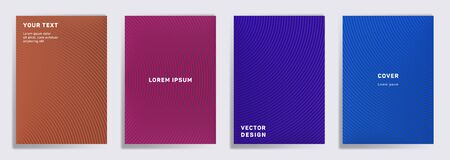 Minimal cover templates set. Radial semicircle geometric lines patterns. Halftone poster, flyer, banner vector backgrounds. Line stripes graphics, title elements. Cover page layouts set.