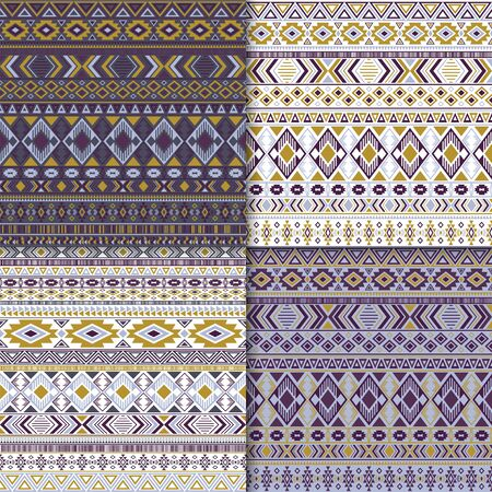 Mexican tribal ethnic motifs geometric patterns set. Unusual tribal motifs clothing fabric textile ethno prints traditional design. Native american folk fashion prints. 向量圖像