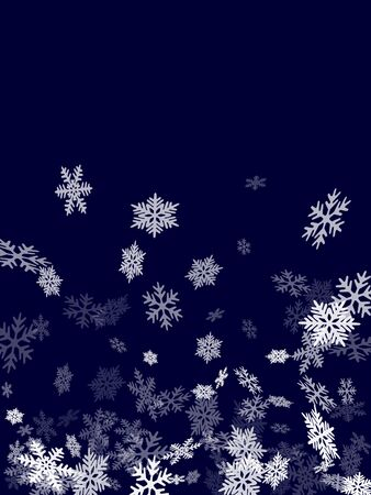 Winter snowflakes border simple vector background.  Macro snowflakes flying border illustration, holiday card with flakes confetti scatter frame, snow elements. Freezing cold symbols.  イラスト・ベクター素材