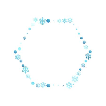 Winter snowflakes and circles border vector backdrop. Unusual gradient snow flakes isolated flyer background. New Year 2019 card border pattern template with trendy snowflake shapes isolated. Standard-Bild - 128781960