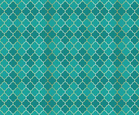 Ottoman Mosque Vector Seamless Pattern. Argyle rhombus muslim textile background. Traditional ramadan pattern with gold grid. Trendy islamic argyle seamless design of lantern lattice shape tiles.