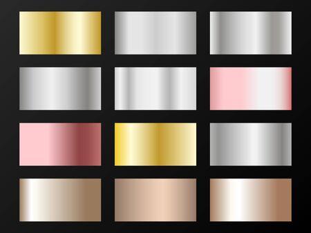 Cool golden, silver, bronze, rose gold gradients. Metallic foil texture silver, steel, chrome, platinum, copper, bronze, aluminum, pink gold gradient swatches.  Stylish metallic swatches set.