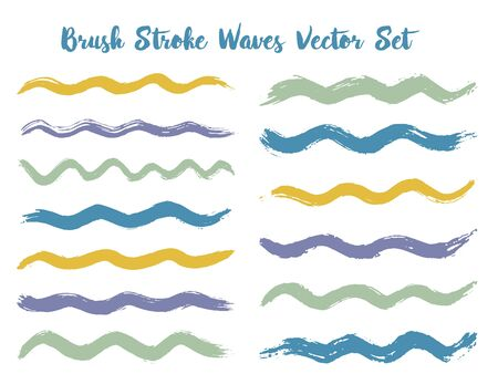 Artistic brush stroke waves vector set. Hand drawn blue grey brushstrokes, ink splashes, watercolor splats, hand painted curls. Interior paint color palette swatches. Textured waves, stripes design.