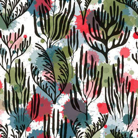Coral reef seamless pattern. Paint splashes drops watercolor background. Ocean bottom summer pattern. Red Sea coral reef branches and bushes cartoon. Underwater plants textile print vector design.
