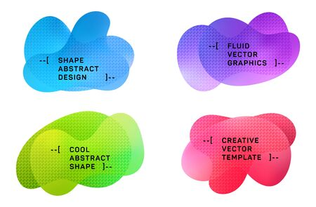 Gradient blue red green fluid shapes banners set with halftone pattern. Vector geometric gradient shapes overlap banners design. Abstract shapes composition templates.