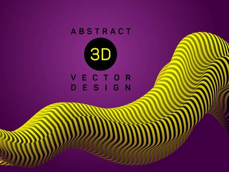 Yellow violet abstract flowing shape 3d vector graphic design. Smooth geometric fluid flowing shape with zebra stripes abstract vector design. Banner or poster trendy 3d fluid background.