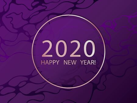 2020 Happy New Year ultra violet vector template. Dark purple marble background. New year card or banner design. Rose gold pink metallic 2020 happy new year text, circle frame. Holiday greeting card.