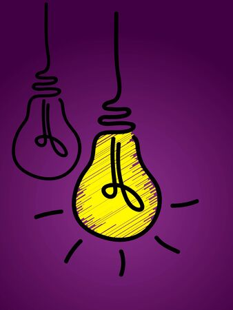 Glowing light bulb scribble line icon vector, isolated on purple background. Idea sign, solution, thinking concept. Lamp line icon. Lighting electric bulb with socket, electricity, shine lamp Иллюстрация