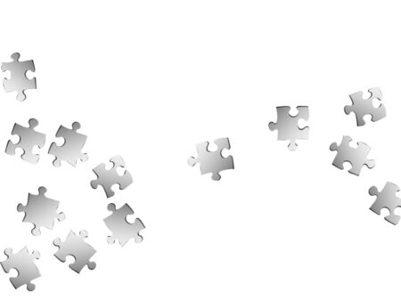 Business brainteaser jigsaw puzzle metallic silver parts vector illustration. Group of puzzle pieces isolated on white. Teamwork abstract concept. Kids building kit pattern.