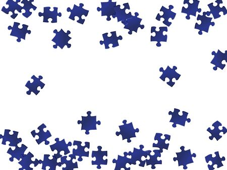Business mind-breaker jigsaw puzzle dark blue pieces vector background. Scatter of puzzle pieces isolated on white. Challenge abstract concept. Kids building kit pattern. 向量圖像