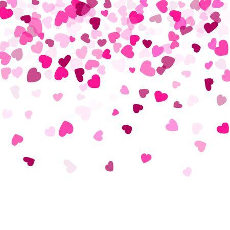 Crimson hearts confetti love emotion vector background. Marvellous falling hearts isolated graphic design.