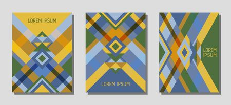 Collection of cover page layouts, vector templates geometric design with triangles and stripes. Festive brazil motifs. Bauhaus pattern vector covers design. Cool rhombus stripe triangle shapes.