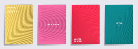 Flat cover templates set. Radial semicircle geometric lines patterns. Gradient backgrounds for catalogues, business magazine. Line shapes patterns, header elements. Cover page templates. 일러스트