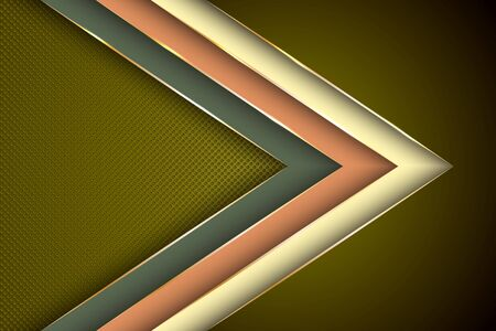Polygonal arrow with gold triangle edge lines banner vector design. Premium business background template. Futuristic cover graphic design. Gradient facets shapes, stripes gold edges lines vector.