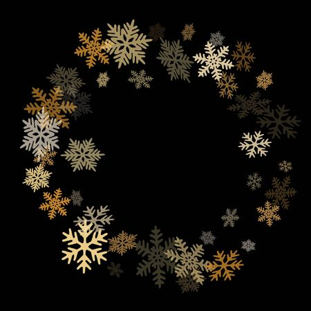 Winter snowflakes border card vector background.  Macro snowflakes flying border graphics, holiday card with flakes confetti scatter frame, snow elements. Frosty season symbols. 일러스트