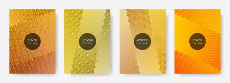 Zig zag lines halftone banner templates set, gradient stripes texture vector backgrounds for brochure covers. Vibrant zig zag gradient line stripes pattern. Corporate folders design. 일러스트
