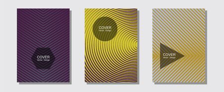 Certificate layouts vector graphic design set. Brand identity elements. Halftone lines music poster background. Hipster placards. Flat lines shapes backgrounds for certificate layout.