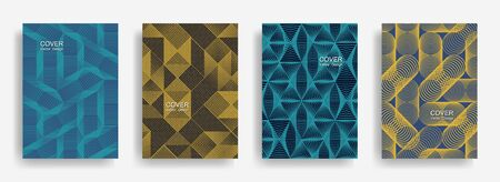 Tech halftone shapes minimal geometric cover templates set graphic design. Halftone lines grid vector background of triangle, hexagon, rhombus, circle shapes. Concise geometric cover backgrounds. 일러스트