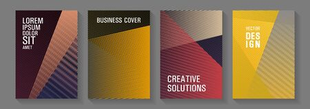 Geometric shapes line texture templates. Creative leaflet backdrops. Triangle element layers modern patterns. Advanced technological concept. Educational brochure covers set. 일러스트