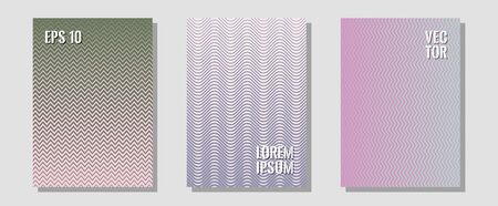 Certificate layouts vector graphic design set. Vibrant tech mockups. Zigzag halftone lines wave stripes backdrops. Corporate catalogs. Flat lines shapes backgrounds for certificate layout. 일러스트
